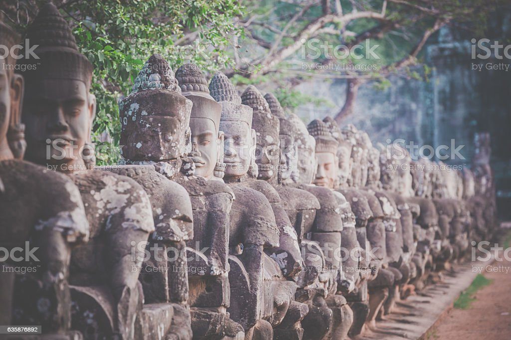 Statues at South gate Angkor Wat, Cambodia stock photo
