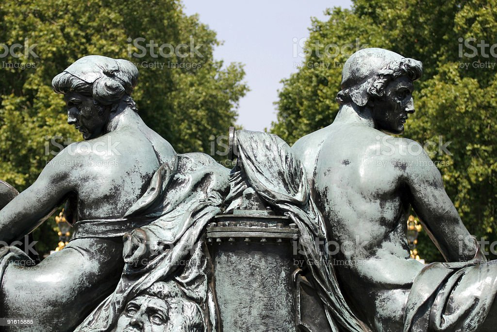 Statues at the Queen Victoria Memorial stock photo