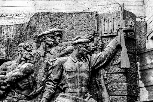 Statues showing ex-USSR ( CCCP ) sign in war memorial in Kiev, Ukraine.