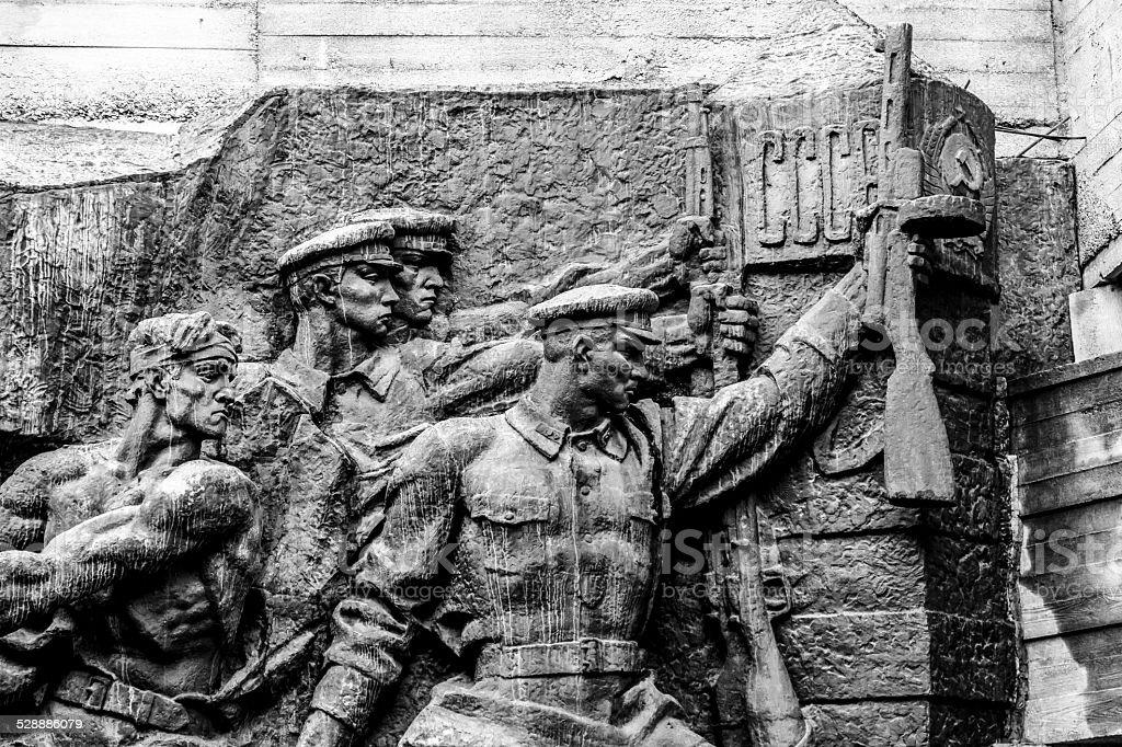 Statues from War Memorial in Kiev stock photo