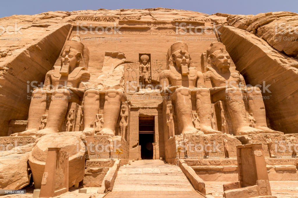 Statues in front of Abu Simbel temple in Aswan Egypt stock photo