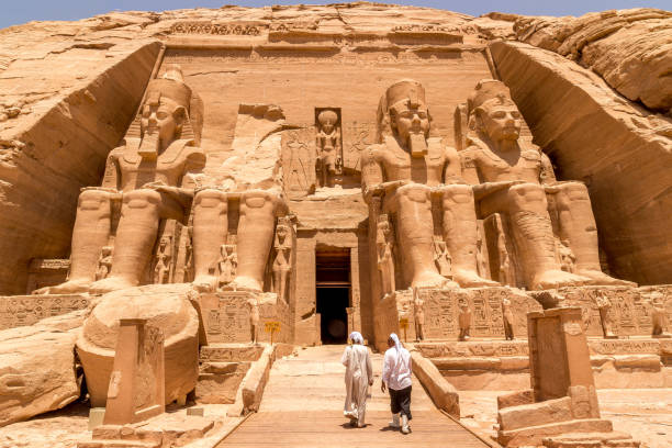 Statues in front of Abu Simbel temple in Aswan Egypt CAIRO, EGYPT - JUNE 11, 2014: Statues in front of Abu Simbel temple in Aswan Egypt, Africa ancient civilization stock pictures, royalty-free photos & images