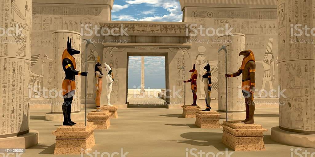 Statues in Pharaoh's Temple stock photo