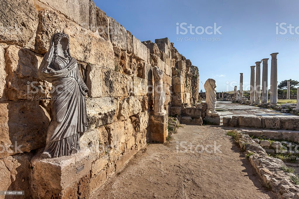 Statues in roman gymnasium in ancient Salamis, Cyprus stock photo