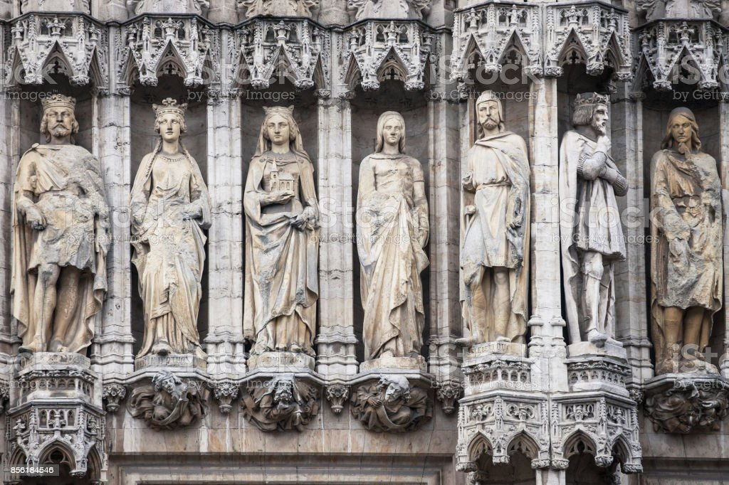 Statues in the Facade of the Brussels Town Hall stock photo