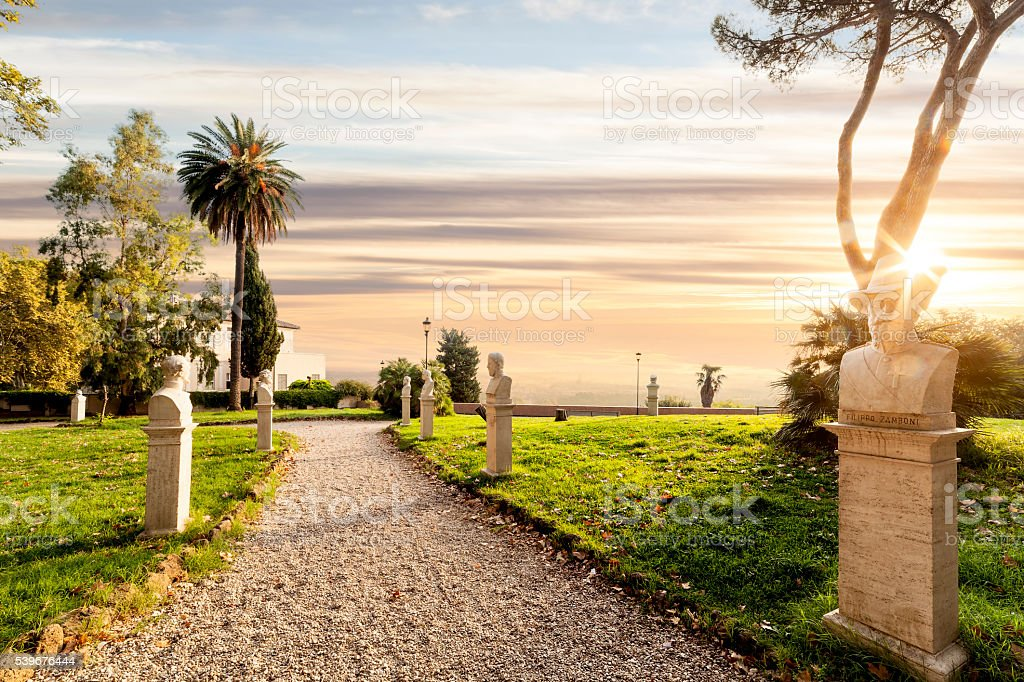 Statues in the Gianicolo park in Rome at sunrise stock photo