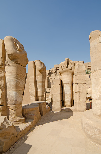 istock Statues  in the temple of Amun at Karnak, Luxor, Egypt 470244798