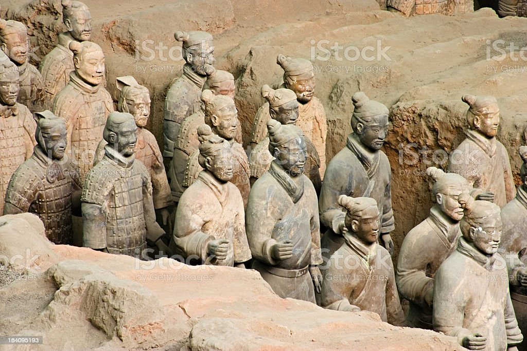 Statues in Xian Tomb of the Terracotta Warriors royalty-free stock photo