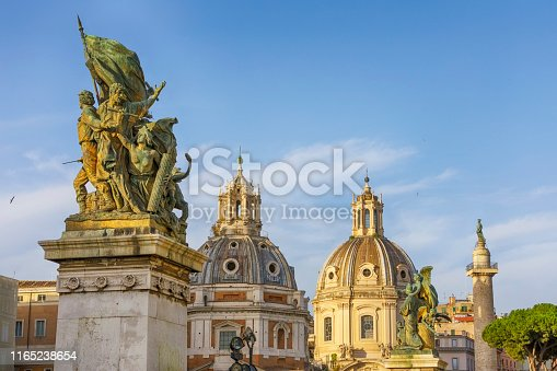 Santa Maria di Loreto is a 16th-century church in Rome, central Italy, located just across the street from the Trajan's Column, near the giant Monument of Vittorio Emanuele II. The Church of the Most Holy Name of Mary at the Trajan Forum is a Roman Catholic church in Rome, Italy.