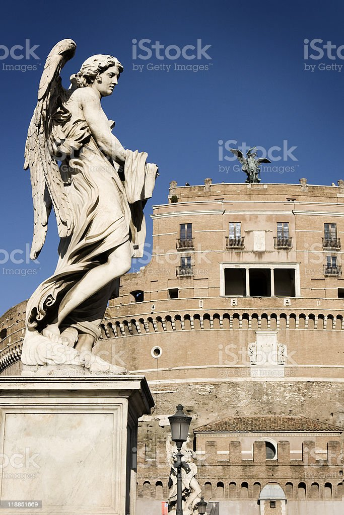 Statues of angels on the Sant'Angelo Bridge Italy, Rome. stock photo