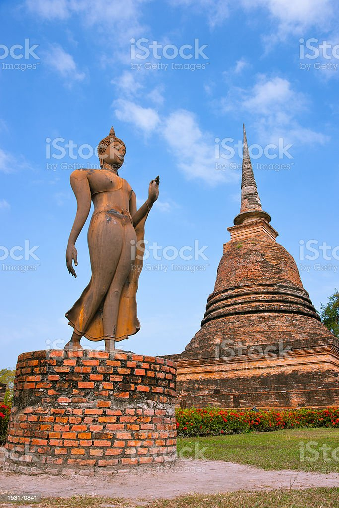 Statues of Buddha sit, Wat Sa Si, Sukhothai Historical Park. stock photo