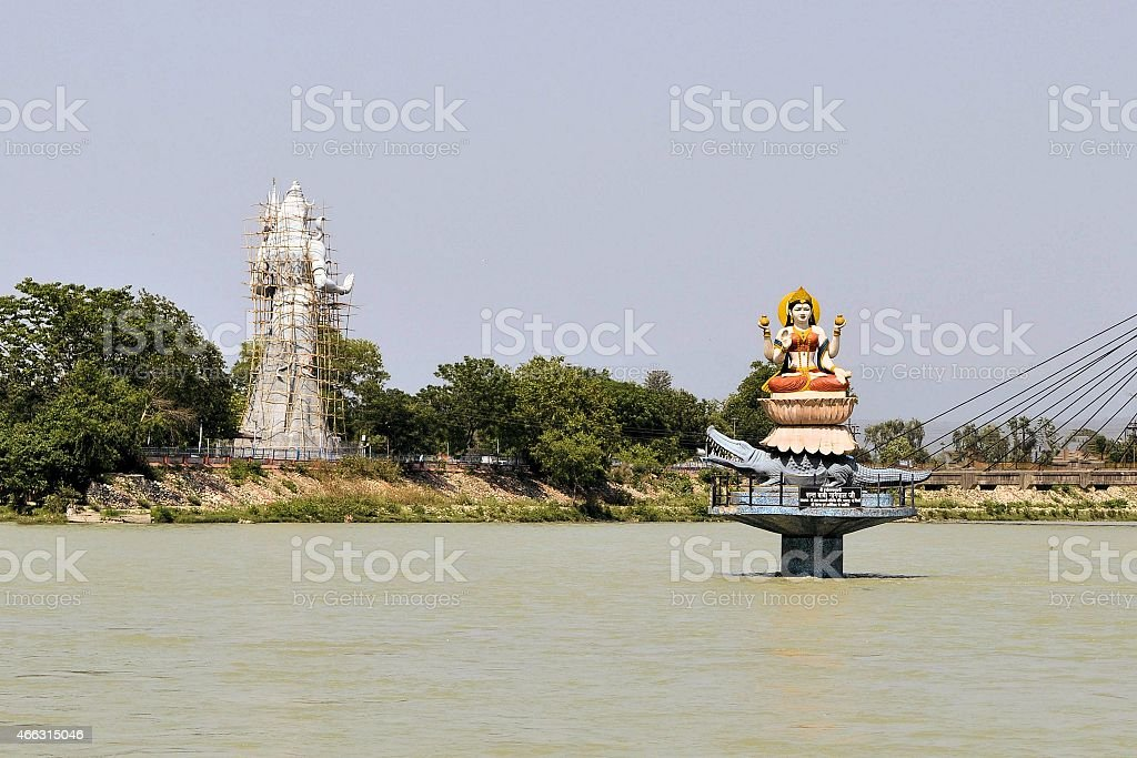 Statues of Hindu gods Ganga and Shiva in Haridwar stock photo