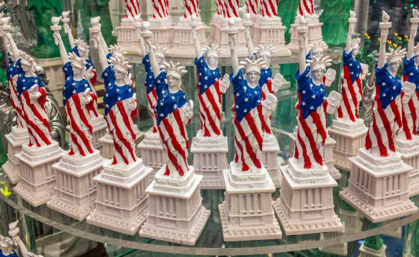 Statues of Liberty on the shelf in the gift shop stock photo