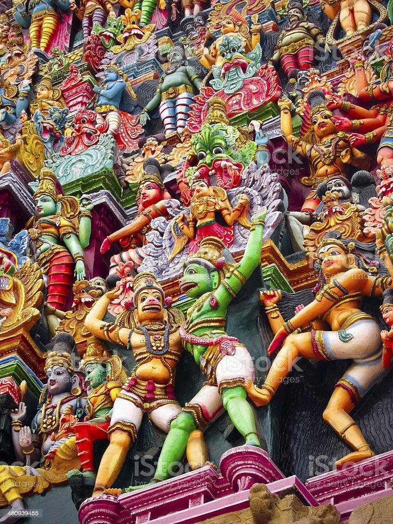 Statues of Meenakshiamman Temple stock photo