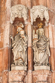 Statues of  Saint Rupert and Saint Erentrude on the portal of the collegiate church Nonnberg.