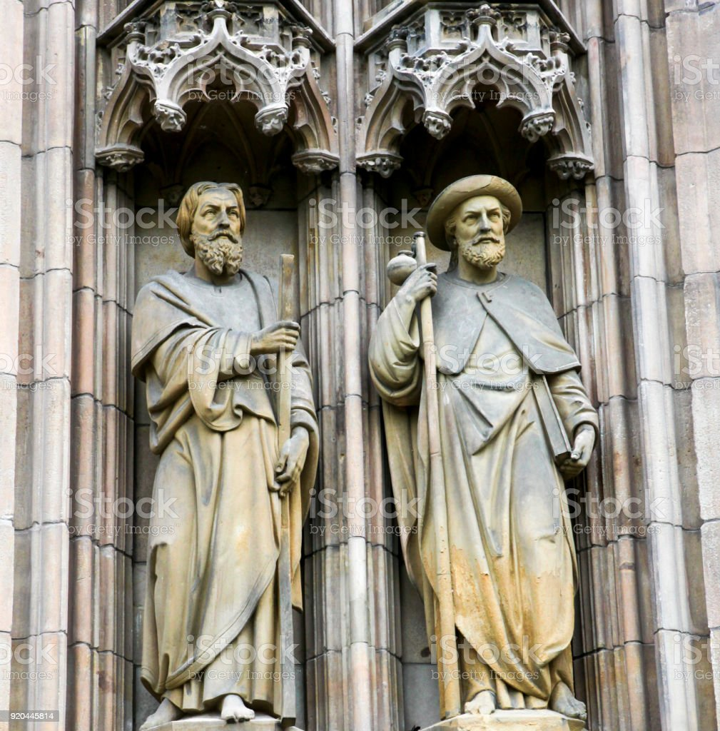 Statues of Saints Andrew and James in Vienna, Austria stock photo