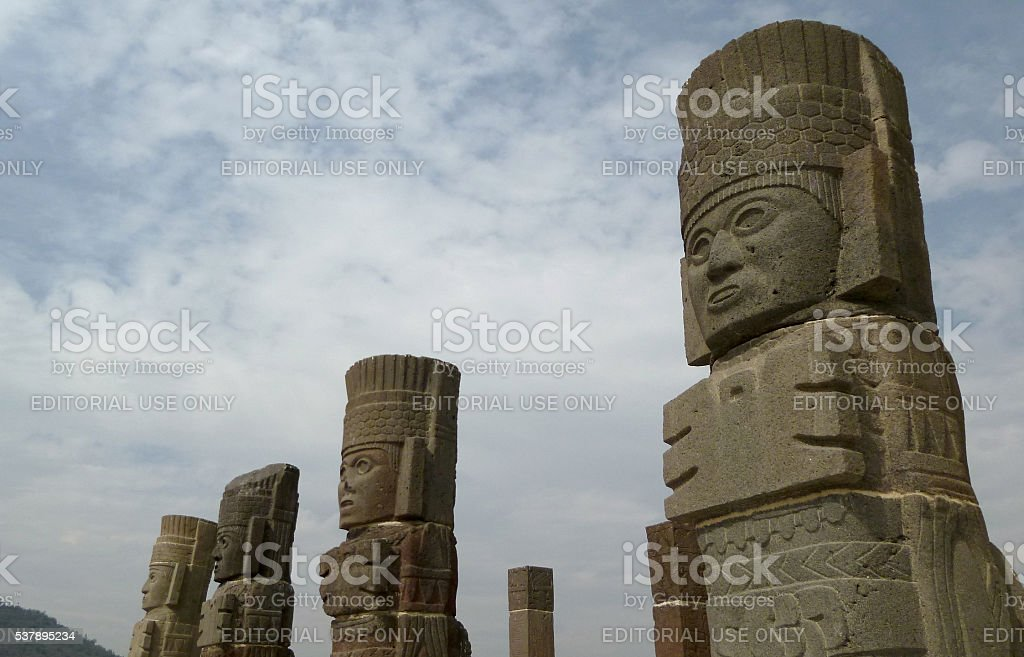 Statues of the Atlanteans in Tula, Mexico stock photo