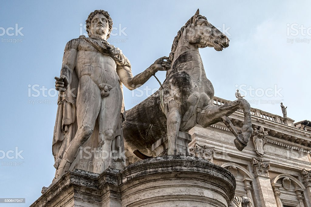 statues of the Dioscuri stock photo