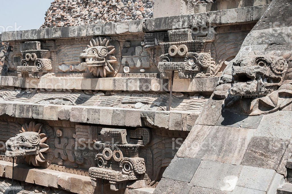 Statues of the temple of Quetzalcoatl, Teotihuacan (Mexico) stock photo