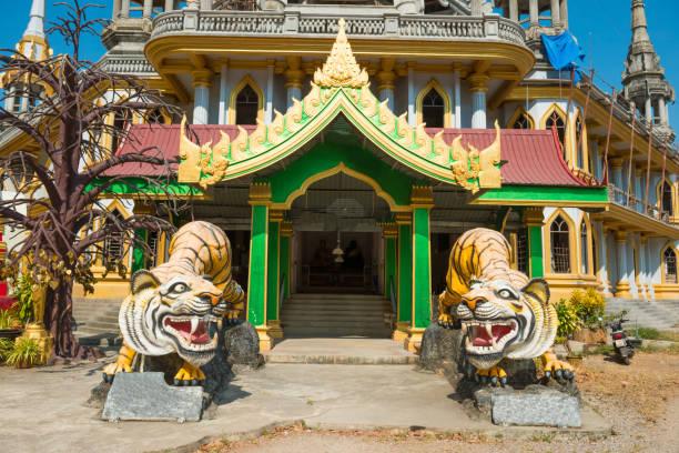 Tigerstatuen im buddhistischen Tempel in Thailand – Foto