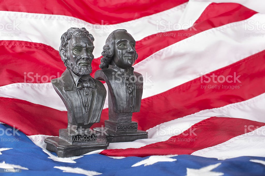 Statues of well known United States presidents stock photo