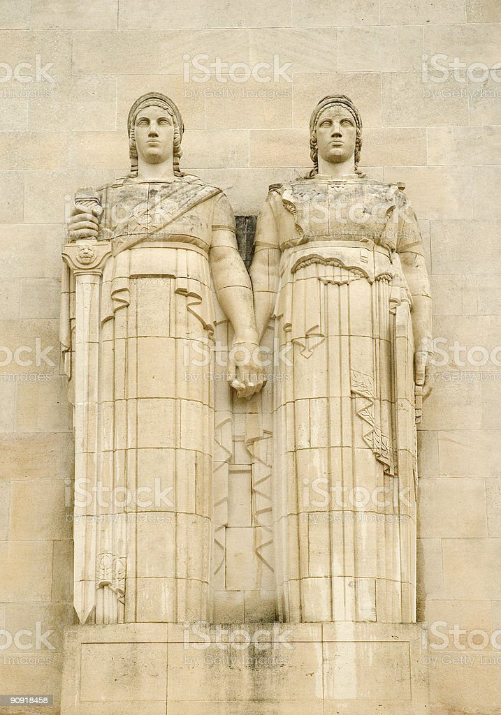 Statues on Aisne-Marne American Cemetery and Memorial royalty-free stock photo