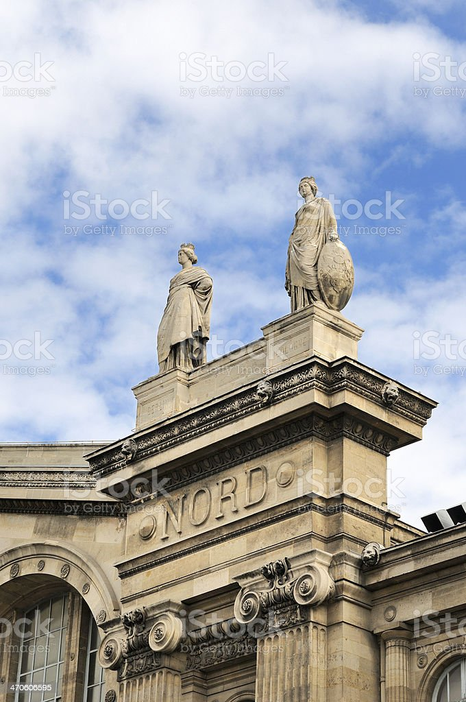 statues on Gare du Nord, Paris France royalty-free stock photo