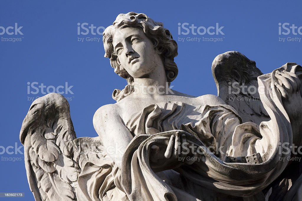 Statue on Ponte Sant'Angelo stock photo