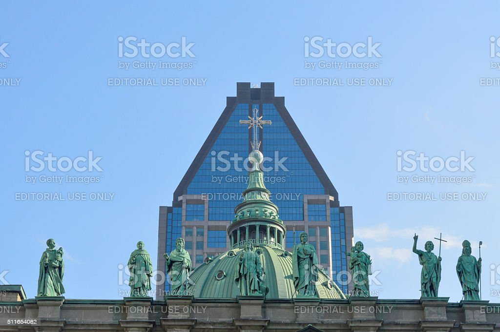 Statues on the Cathedral-Basilica of Mary stock photo