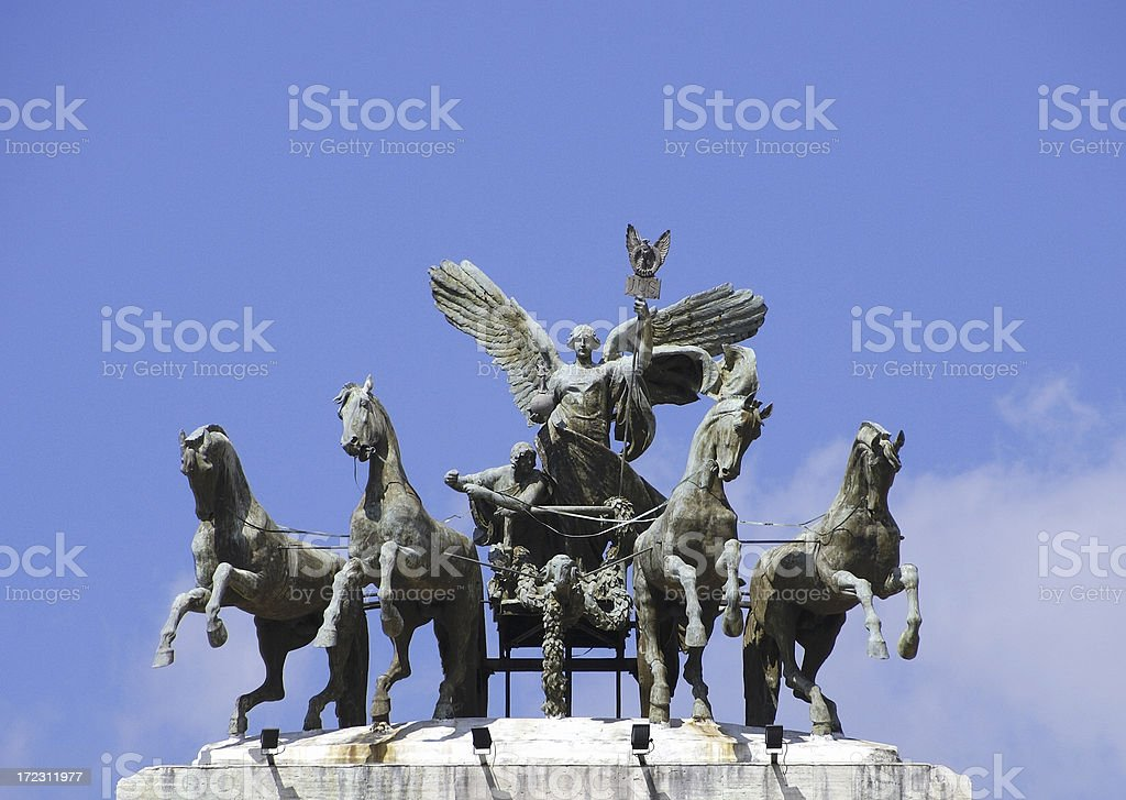 Statue on palazzo di giustizia in Rome stock photo