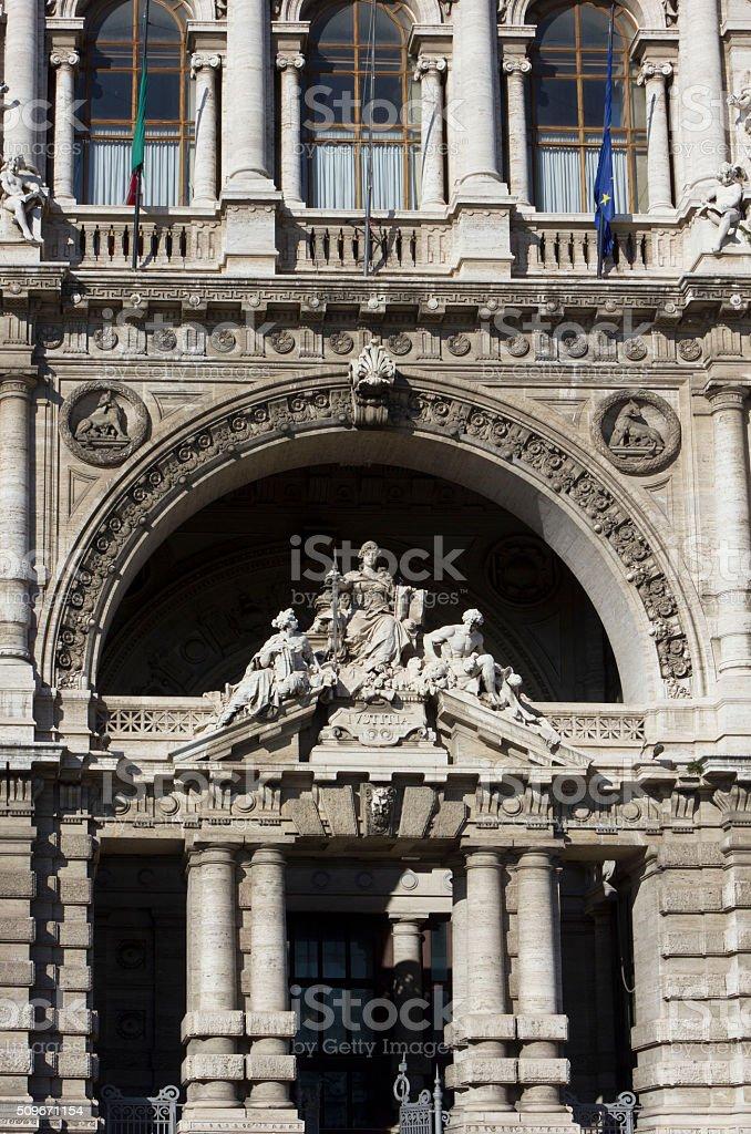 statues on the doorway of Italian Corte di Cassazione stock photo