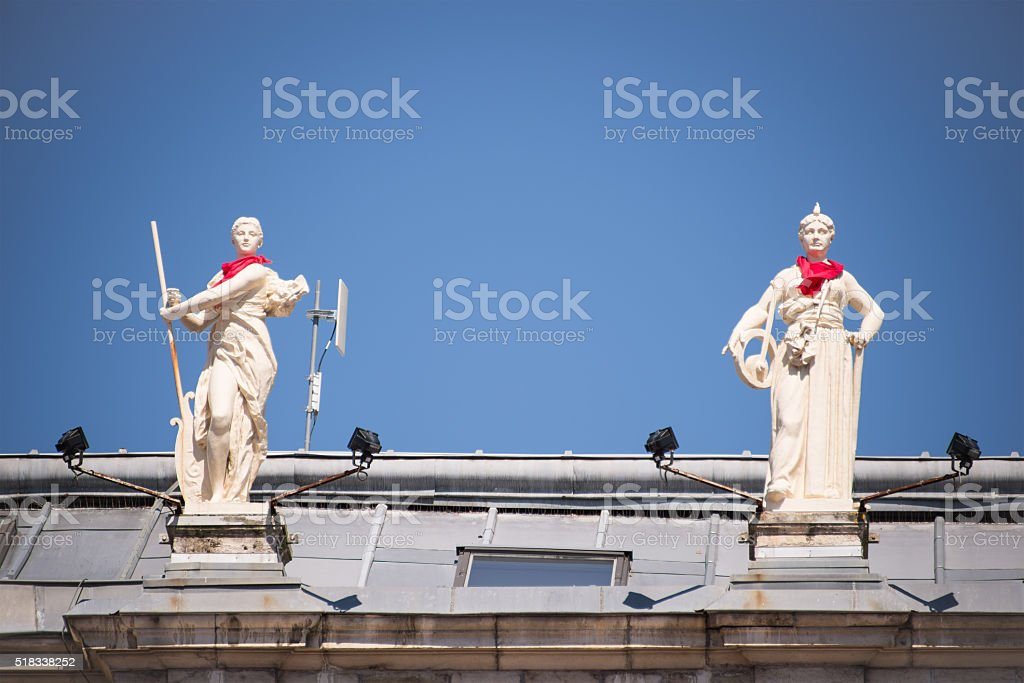 Statues on the roof of the city hall of Bayonne stock photo