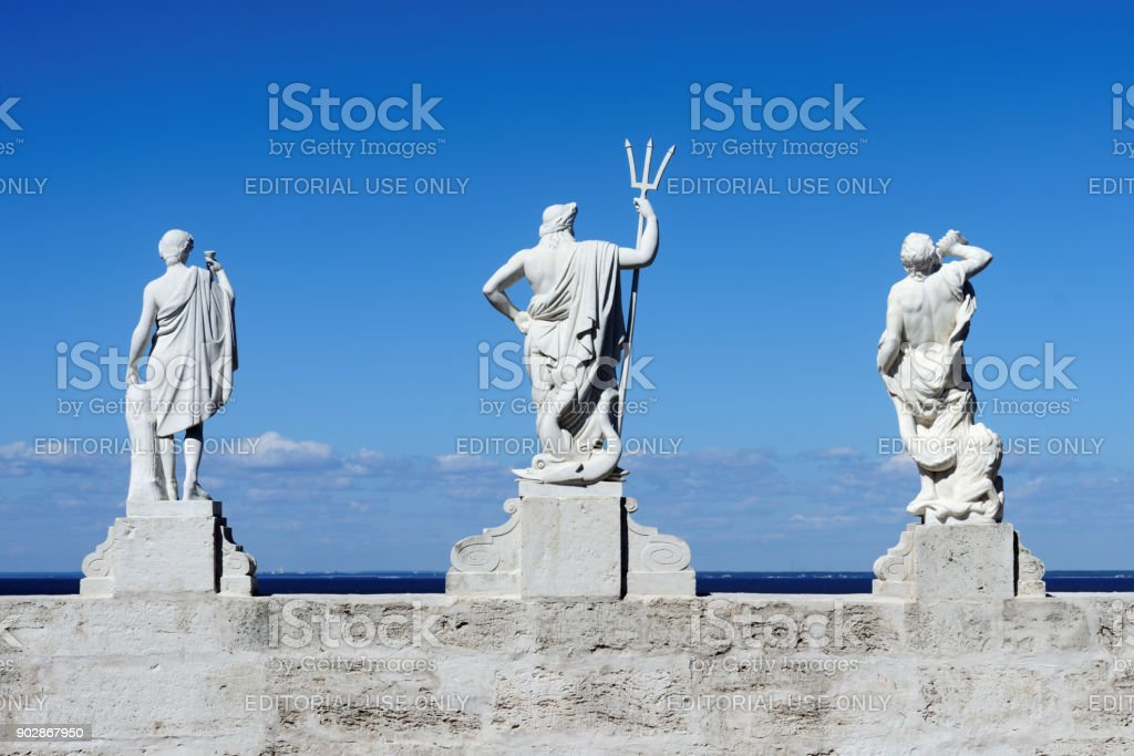 Statues on the top of the Golden Hill cascade in Peterhof, St. Petersburg, Russia stock photo