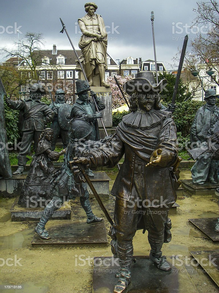 Statues Rembrandt And The Night Watches Rembrandtplein Amsterdam Netherlands stock photo