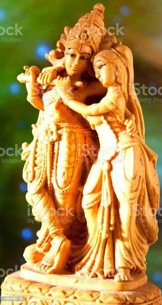 Statuette Krishna and Radha stock photo