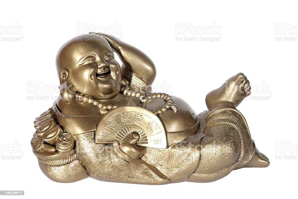 Statuette of Hotei (Buddha) stock photo