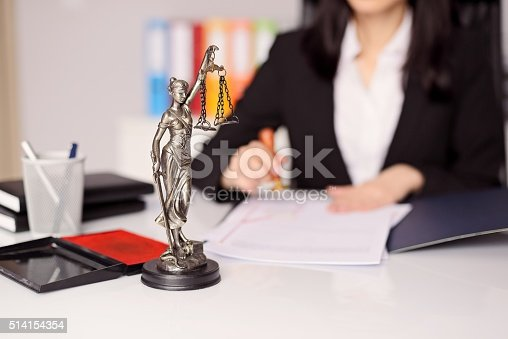 944422446istockphoto Statuette of Themis -  goddess of justice on lawyer's desk 514154354