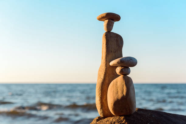 Statuettes of pebbles stock photo