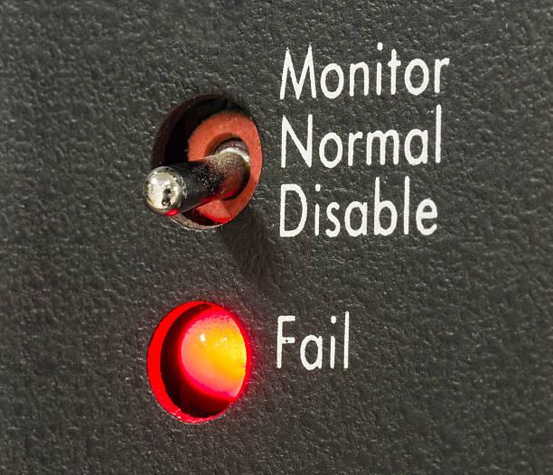 LED status FAIL stock photo