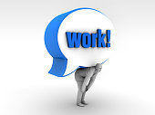 Man under work order in the speech balloon. Working system of the modern world.