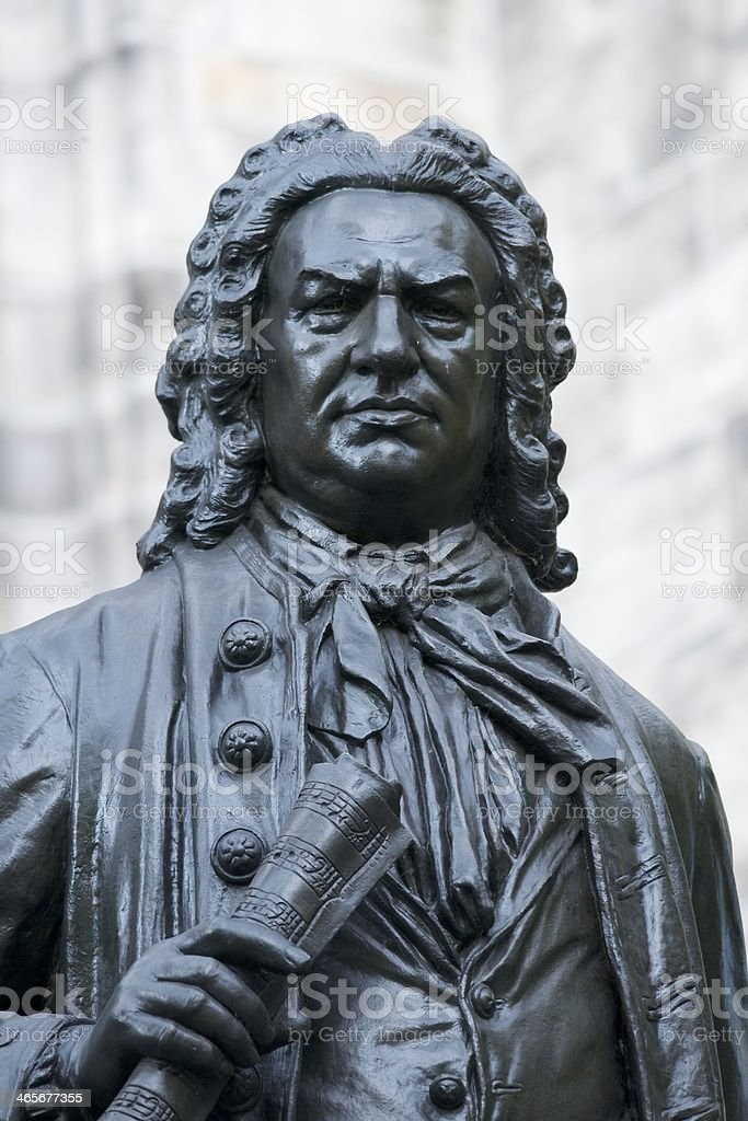 Statute of Johann Sebastian Bach in Leipzig, Germany stock photo