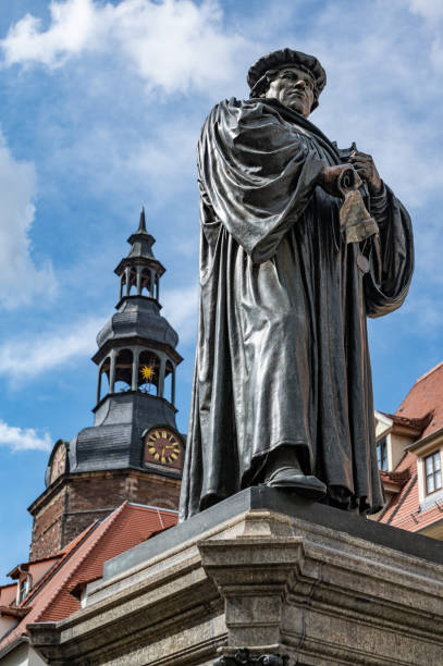 Statute of Martin Luther in Market Square of Lutherstadt Eisleben stock photo