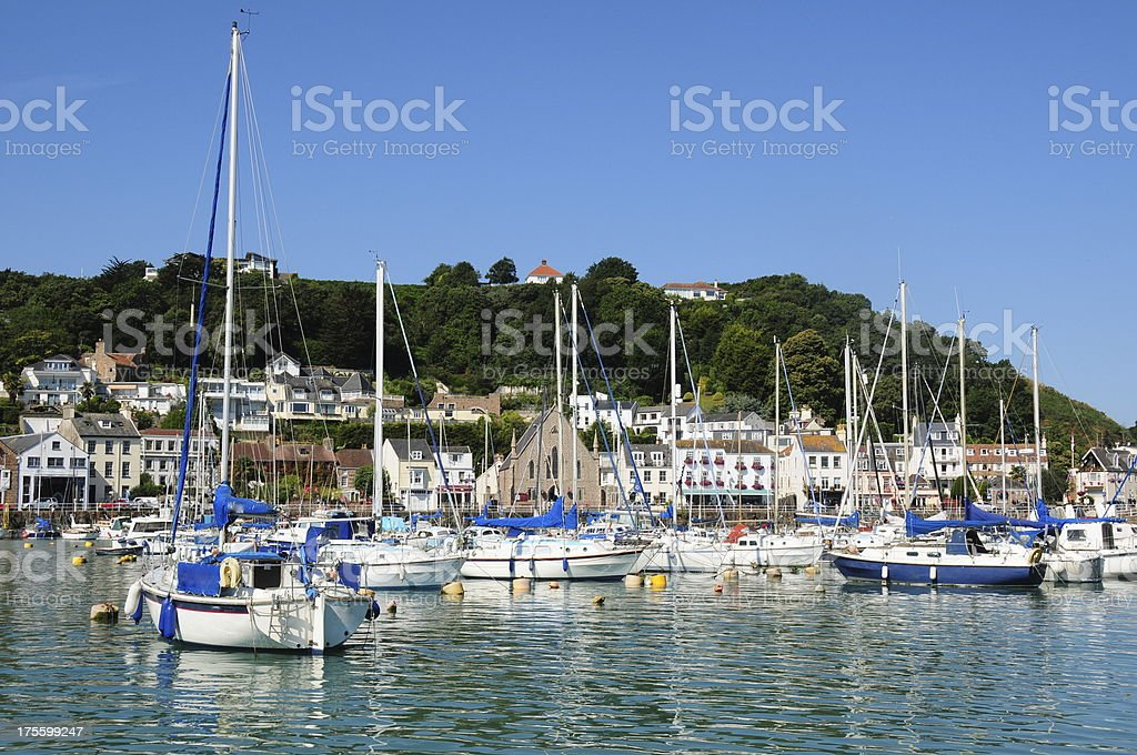 St.Aubin harbour, Jersey. stock photo
