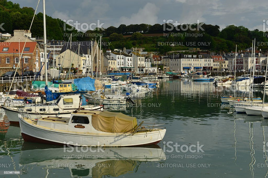 St.Aubin harbour, Jersey, U.K. stock photo