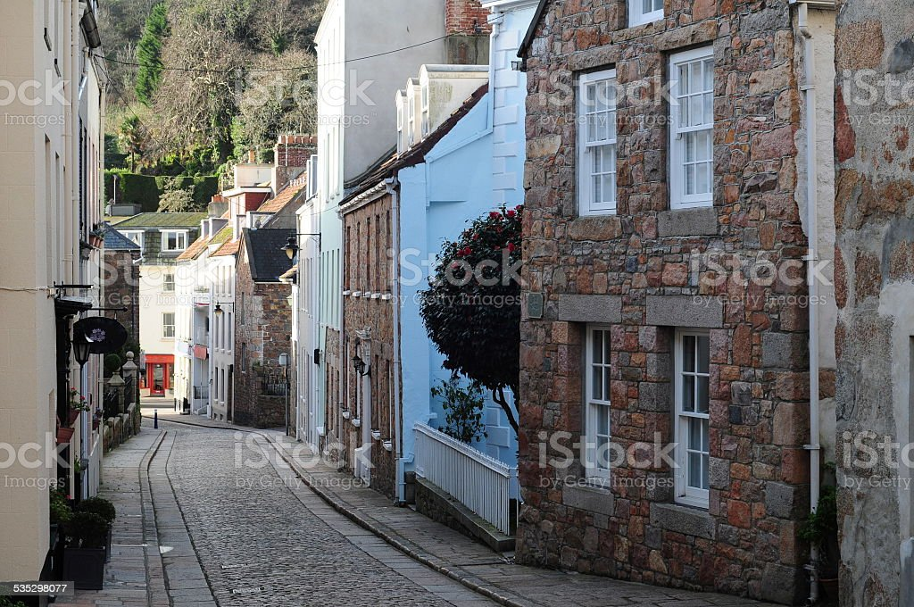 St.Aubin's highstreet, Jersey, U.K. stock photo