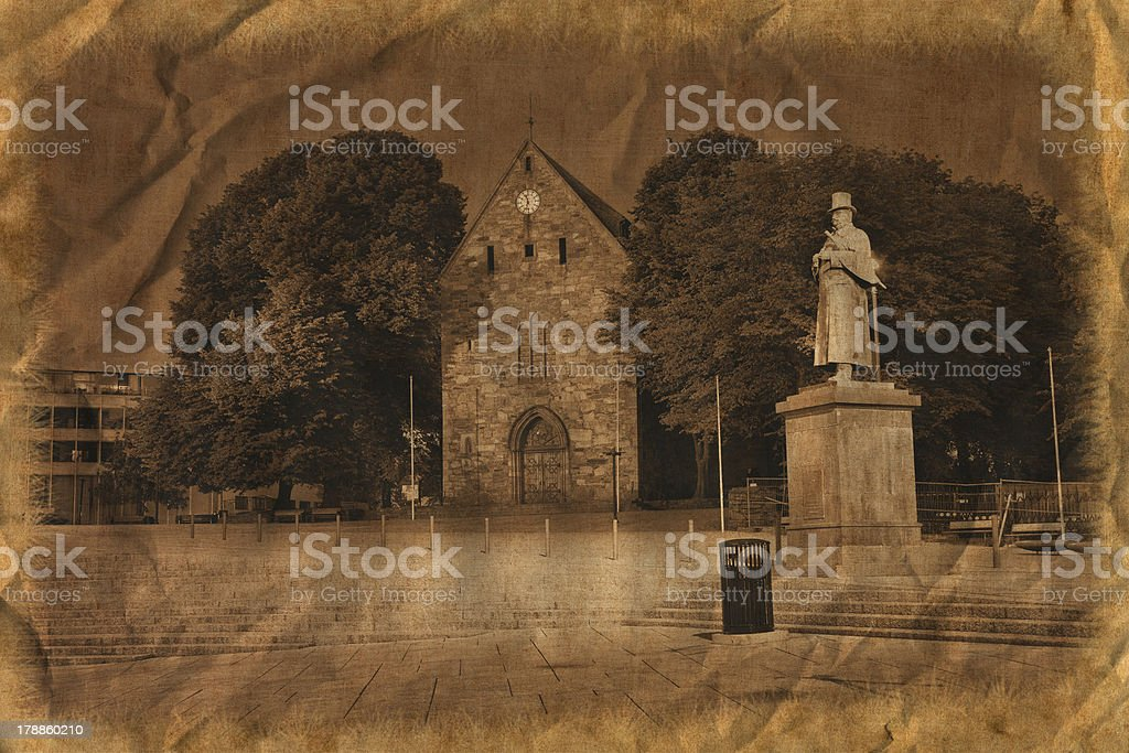 Stavanger Cathedral in retro style royalty-free stock photo