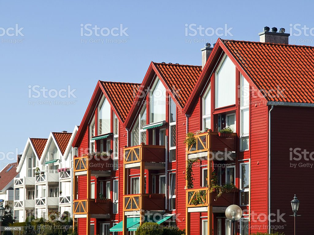 Stavanger Houses in the Lysefjord royalty-free stock photo
