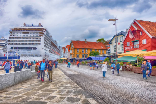 Stavanger, Norway city center and cruise ship stock photo
