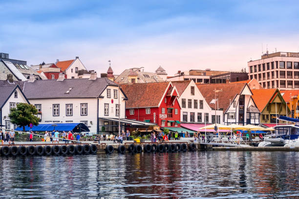 Stavanger, Norway city center view stock photo