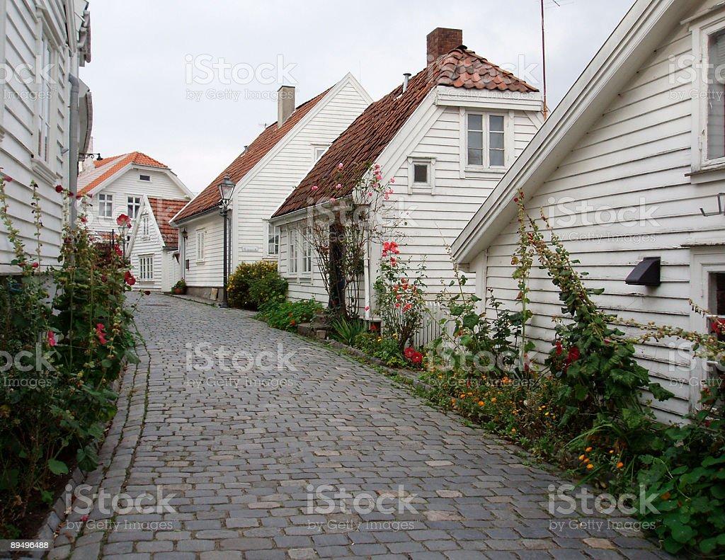 スタヴァンゲル旧市街木造家屋、ノルウェー、スカンジナビア ロイヤリティフリーストックフォト
